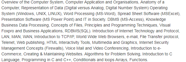 Informatics AssistantRecruitment 2018 Syllabus