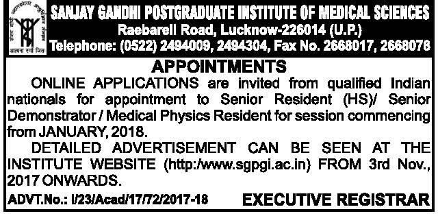 SGPGIMS Lucknow Recruitment 2018 Walk in for senior resident