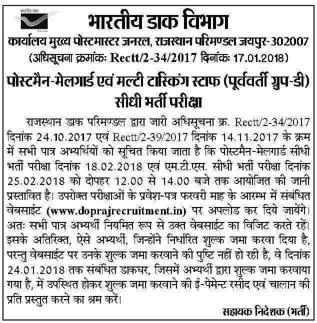 Rajasthan Post Office Recruitment 2018